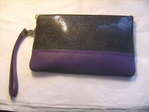 Cuir En violet Véritable Noir De Neuve Galuchat Pochette Soirée Marque Rota 1qI4SwU