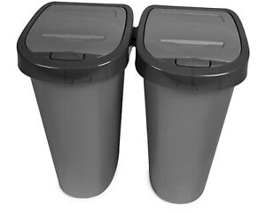 Mülleimer mit Deckel Küche Bad Abfalleimer 40 Liter Mülltonne grau Papierkorb