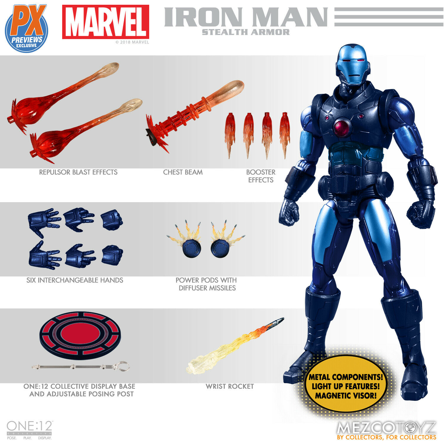 Mezco One One One 12 Marvel Iron Man Stealth Armor Previews Exclusive Action Figure MINT fed220
