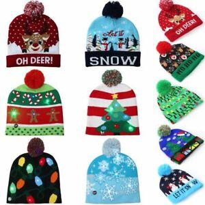 Christmas LED Hat Beanie Knit Cap Light Up Xmas Cap for Women Men Unisex New