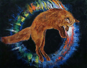 JUMPING-FOX-16x20-034-Oil-Painting-Red-Fox-Aura-Jump-Leaping-Original-Art-M-Creese