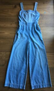 0063a5381aec Image is loading Authentic-MADEWELL-denim-apron-bow-back-jumpsuit-4-