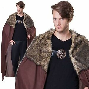 Deluxe-Adults-Brown-Medieval-Cloak-Game-of-Thrones-Viking-Cape-Fur-Fancy-Dress