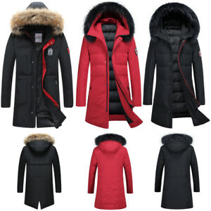bf9450d2ec3806 Image is loading Winter-Warm-Goose-Down-Mid-Long-ThickenJacket-Feather-