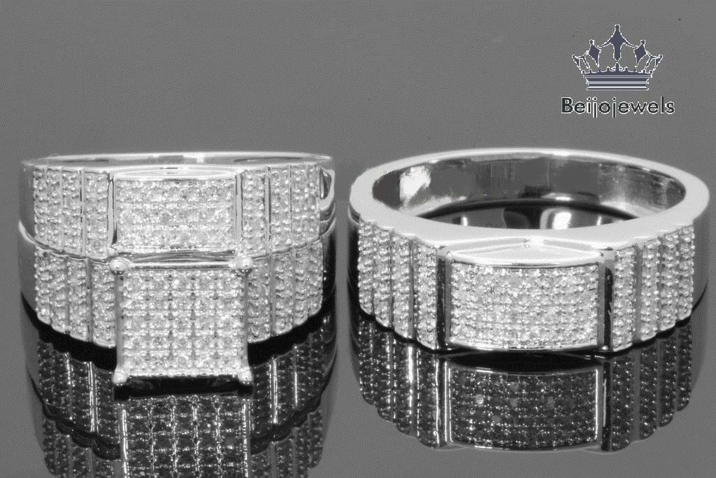 His and Her Trio Rings Set White gold Over 2.6ct Round Diamond Style Square Top