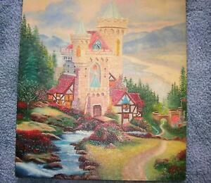 FAIRY-TALE-CASTLE-ENGLISH-COTTAGE-MEDIEVAL-CASTLE-GARDEN-TOPIARY-STREAM-PAINTING