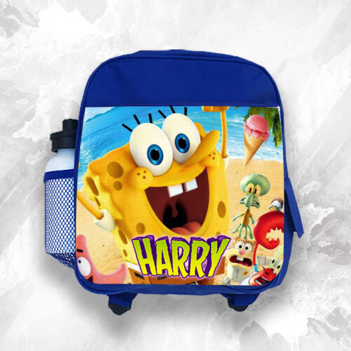 Personalised Kids Backpack Any Name Spongebob Boys Childrens School Bag