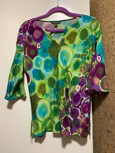 Tommy-Bahama-Top-Abstract-Watercolor-Multi-Colored-low-shoulder-sleeve-3-4-SP
