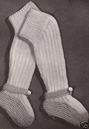 VintageKnitting PATTERN to make Baby Leggings Socks Mary Jane KneeSockBooties