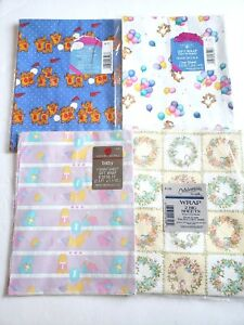 American-Greetings-Lot-of-4-Vintage-Wrapping-Paper-Gift-Wrap-Baby-Floral-Sealed