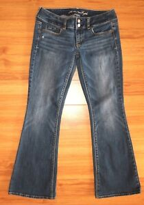 American-Eagle-Outfitters-Artist-Jeans-Flare-Blue-Stretch-Denim-Size-2-Short