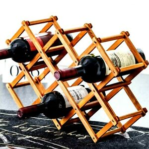 Premium 10 Bottle FOLDABLE WINE RACK Wooden Storage Stand Organiser Collapsible
