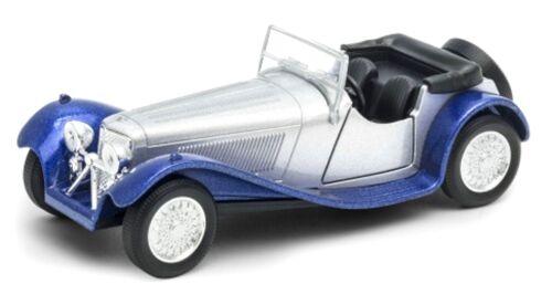 Jaguar 100 convertible Oldtimer maqueta de coche plata//azul moldeo 11-12cm de Welly