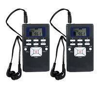 2x Mini Portable Dsp Stereo Fm Radio Digital Clock Receiver W/ 3.5mm Earphone Us