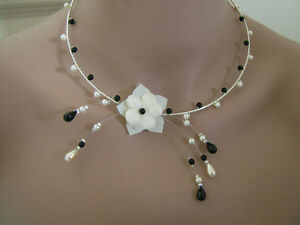 Collier Noir Blanc cassé p robe de Mariée Mariage Cérémonie Fleur ... 4d54d49d4612
