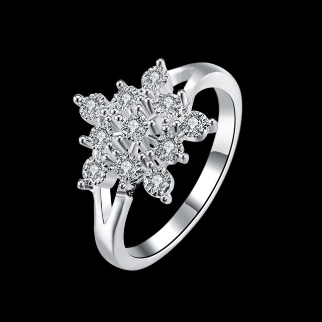 925 Sterling Silver Filled Ring AAA crystal zircon Snowflake jewelry xmas gift