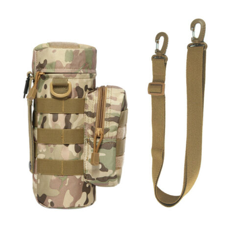 Outdoor Tactical Molle Water Bottle Kettle Bag Pouch Holder with Shoulder Strap