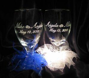 2-Personalized-Toasting-Glass-Goblets-w-Names-Date-amp-Wedding-Rings-Artwork