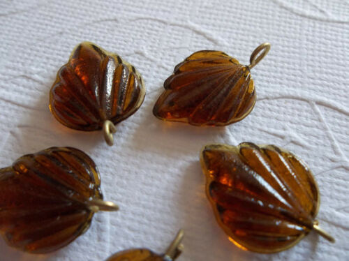12 Smoke Topaz Brown Leaf Charms Beads Leaves with Brass Loops 15mm X 12mm