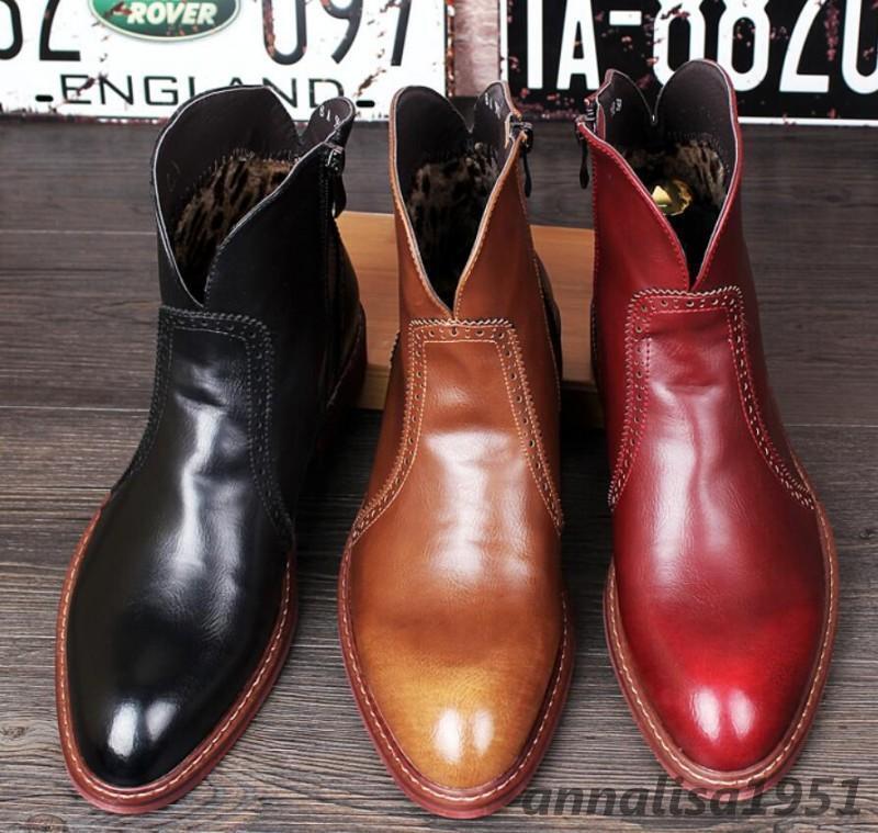 Chelsea Stiefel Herren Schuhe Stiefeletten Reißverschluß Glattleder Boots