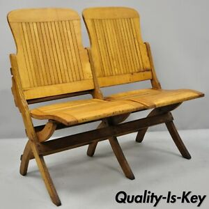 Super Antique Vintage Wood Slat Double Folding Seat Theater School Onthecornerstone Fun Painted Chair Ideas Images Onthecornerstoneorg