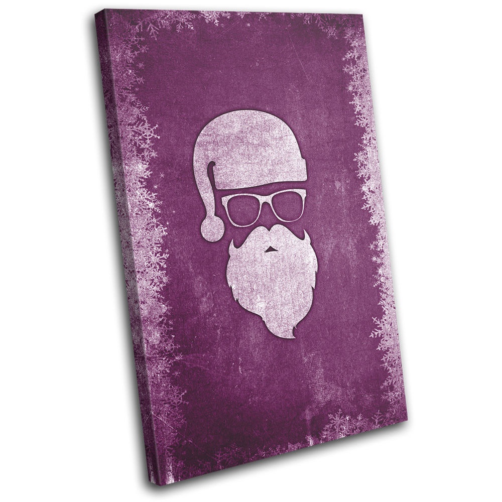 Christmas Decoration Wall Canvas ART Print XMAS Picture Gift Chalk 10 lila Chr