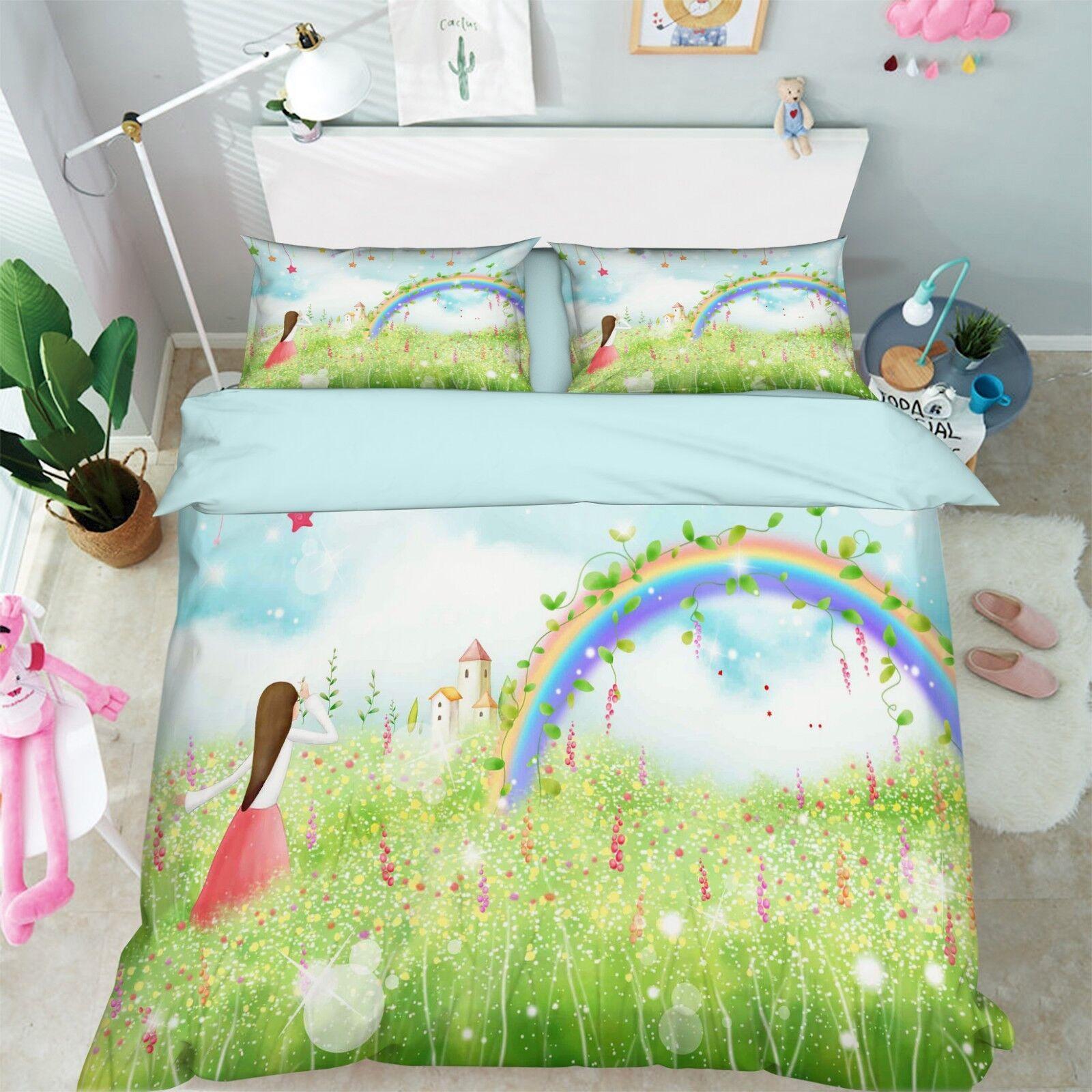 3D Grass Girl Sky 66 Bed Pillowcases Quilt Duvet Cover Set Single Queen AU Carly