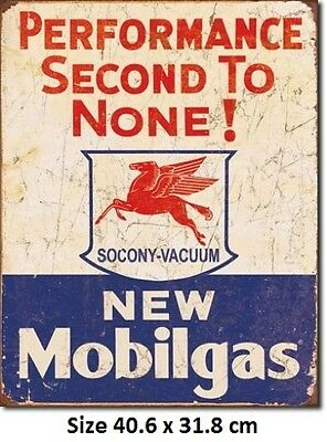Mobil gas Performance 2nd To None RUSTIC Tin Sign 1725- Mobil Petrol Licensed