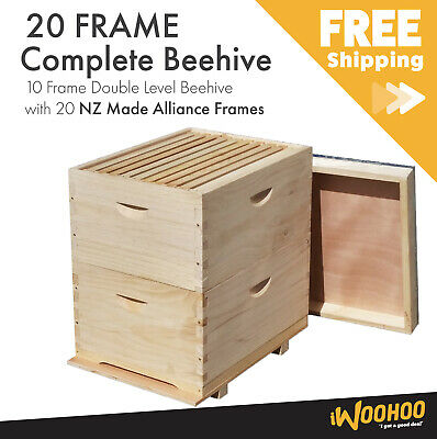 10 Frame Full Depth Beehive Double Level 20 Bee Frames Lid Base Supers Brood Box