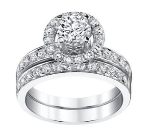 Quality Loyal Certified 3 Ct Round Cut Diamond Halo Bridal Set Engagement Ring 14k White Gold Superior In
