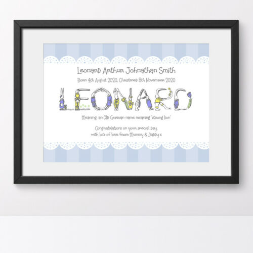 Meaning of Name Prints Personalised New Baby Gift Keepsake Christening Boy Girl