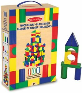 Details About Melissa Doug 100 Wooden Building Block Set Toygift Babytoddlerchild Gift Bn