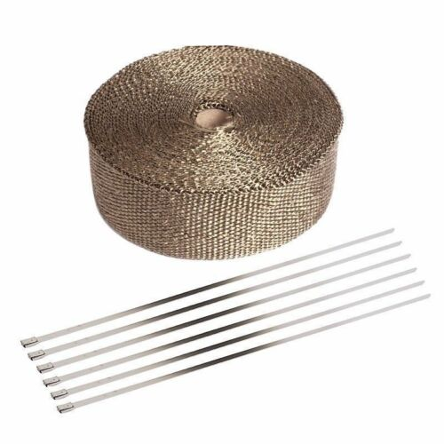 "6 Ties Kit 2/"" 50ft Roll Titanium Header Manifold Exhaust Heat Pipe Wrap Tape"