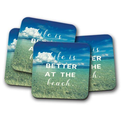 4 Set-Été Plage Citation Coaster-Vie Positive Seaside Océan FUN CADEAU #15906
