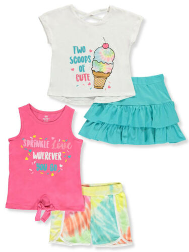 Pink Velvet Girls/' Glitter and Tie Dye 4-Piece Shorts Set Outfit