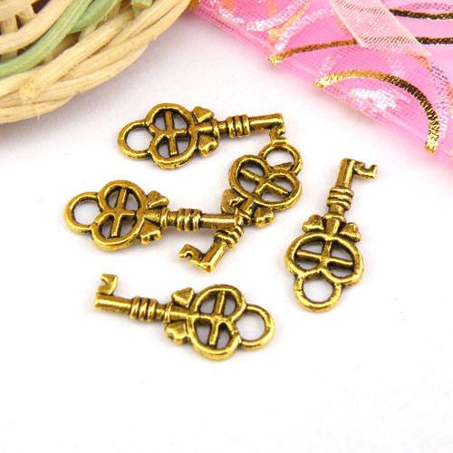 bronce oro envejecido pequeño clave encantos colgantes Gotas M1112 20Pcs Plata Tibetana