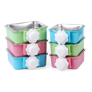 NEW-Hang-on-Bowl-Stainless-Steel-For-Pet-Dog-Cat-Crate-Cage-Food-Water-Bowl