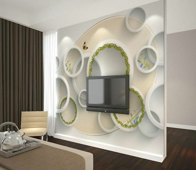 3D Round Modern Space Paper Wall Print Wall Decal Wall Deco Indoor Murals Wall