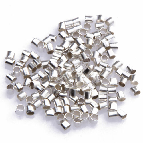 500pcs Wholesale Silver//Gold//Black//Bronze Plated Tube Crimp End Beads 2mm