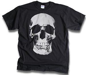 Mens-Womens-T-Shirt-Goth-Punk-Biker-Rock-Big-Half-tone-Skull-Black-Sm-3XL
