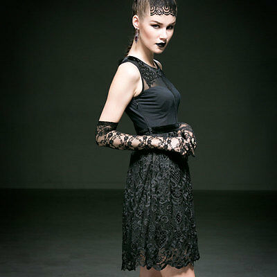 NEW Punk Rave Gothic Lace Sleeveless Black Dress Q-227 ALL STOCK IN AUSTRALIA!