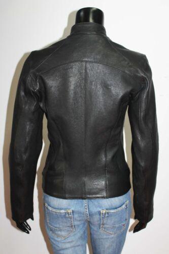 Size Black Slim Washed Leather Women Lambskin L Handmade Italian Jacket Fit fqHw7zFnx