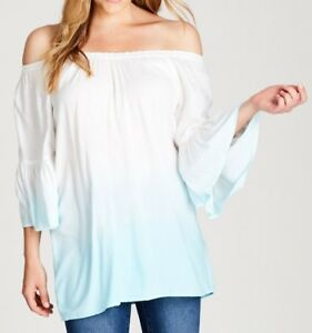 Crossroads-Dip-Dye-Viscose-Off-The-Shoulders-Tunic-White-amp-Blue-Colour-Size-12