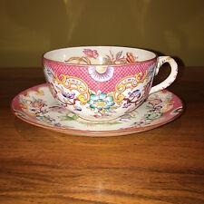 Sarreguemines Minton Pink Large Hand Painted Tea Cup and Saucer