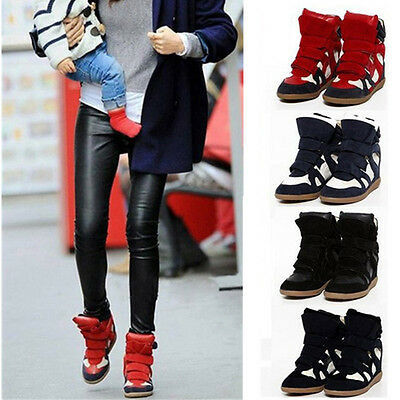 Fashion Women's Strap High-TOP Sneakers Shoes/Ladys Ankle Wedge Boots Shoes