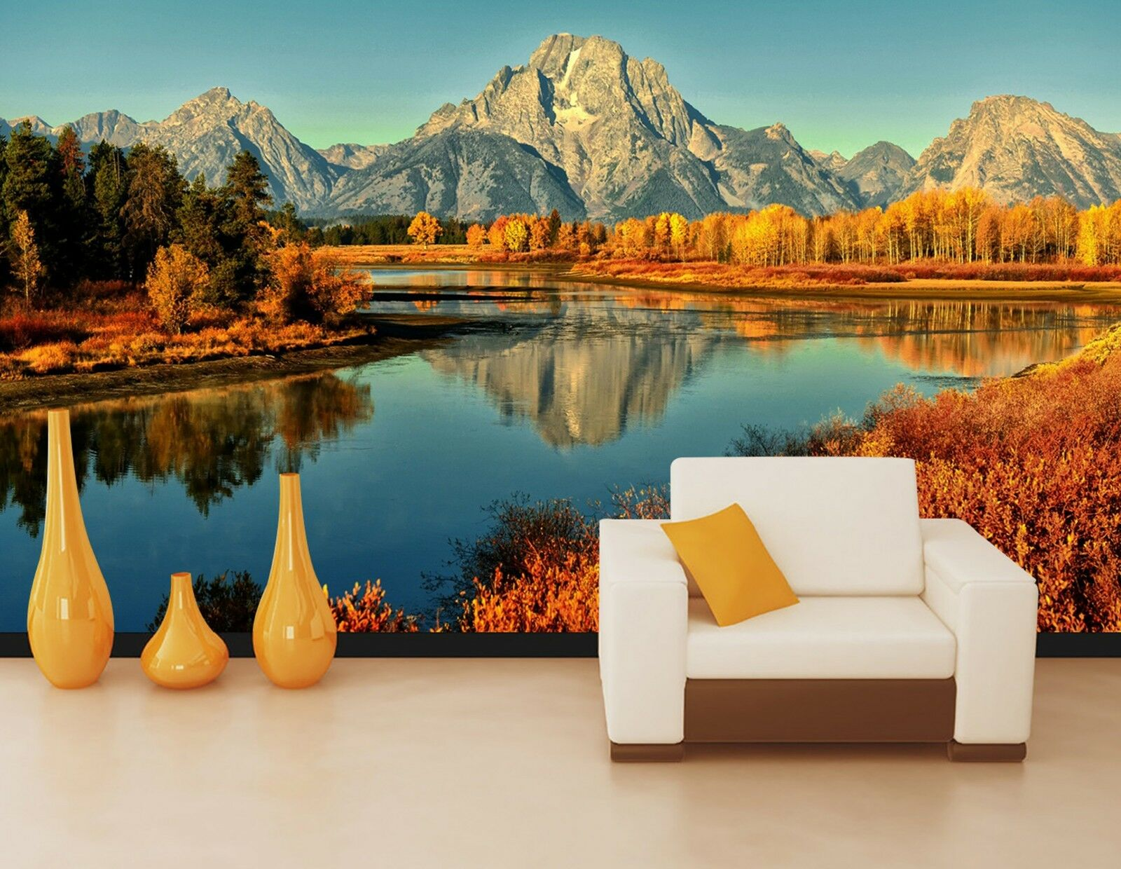 3D Mountains lake Wall Paper Print Decal Wall Deco Indoor wall Mural