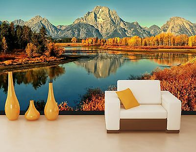 3D mountain lake view Wall Paper Print Decal Wall Deco Indoor wall Mural