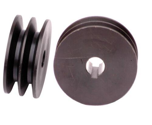 2 rillige Courroie Trapézoïdale disque spa125x24 Poulie Moteur électrique Brüniert 00470