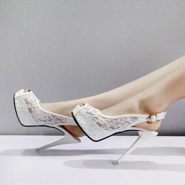Decolte sandali stiletto bianco 12 cm spillo plateau simil pelle eleganti 1418