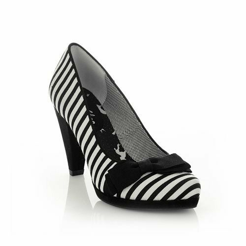 99dcac267 Ruby Shoo Susanna High HEELS Women's Black White Stripe Court Shoes With Bow  UK 6 for sale online | eBay